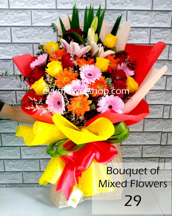 bouquet of mixed flowers 29, bouquet of mixed flowers, spring flowers, bouquet, flower delivery, flower delivery philippines