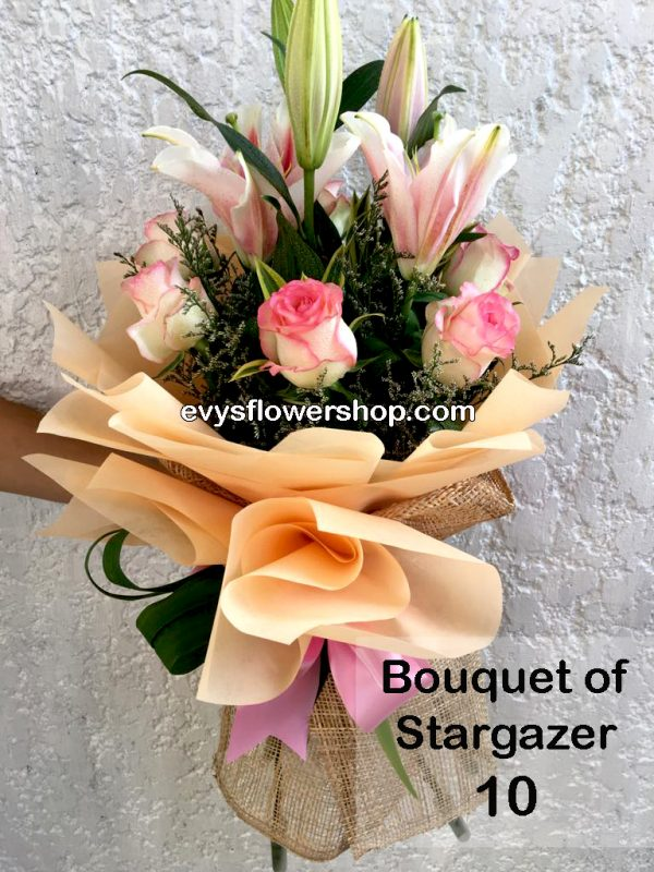 bouquet of stargazer 10, bouquet of stargazer, stargazer, bouquet, flower delivery, flower delivery philippines