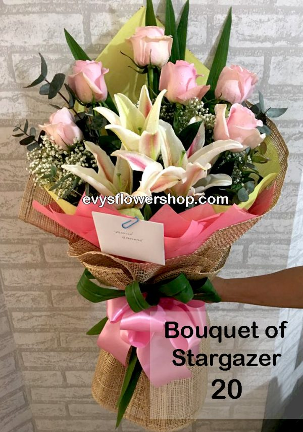bouquet of stargazer 20, bouquet of stargazer, stargazer, bouquet, flower delivery, flower delivery philippines