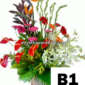 B1, basket of tropical flowers, tropical flowers, basket arrangement, basket, basket of flowers, flower delivery, flower delivery philippines