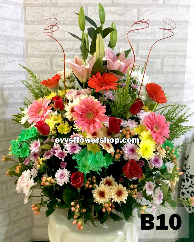 B10, basket of mixed flowers, spring flowers, basket arrangement, basket, basket of flowers, flower delivery, flower delivery philippines