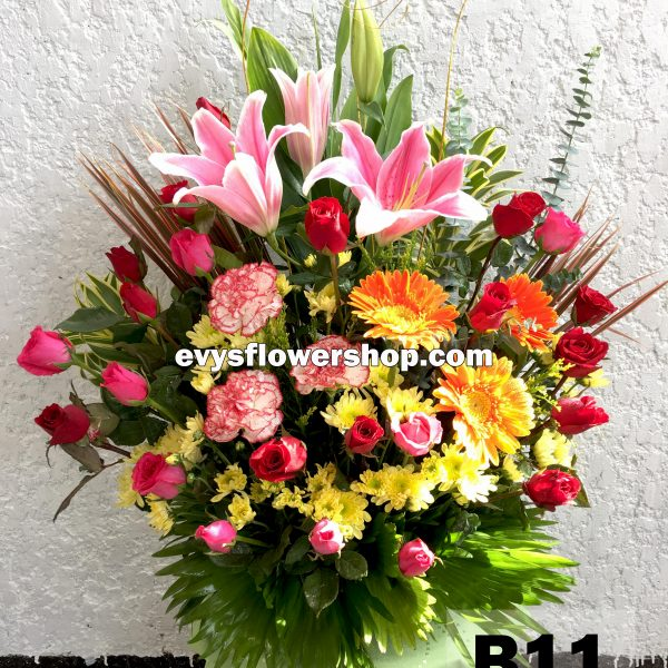 B11, basket of mixed flowers, spring flowers, basket arrangement, basket, basket of flowers, flower delivery, flower delivery philippines