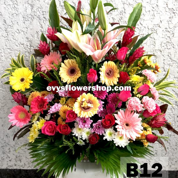B12, basket of mixed flowers, spring flowers, basket arrangement, basket, basket of flowers, flower delivery, flower delivery philippines