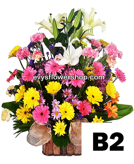 B2, basket of mixed flowers, spring flowers, basket arrangement, basket, basket of flowers, flower delivery, flower delivery philippines