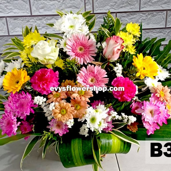 B3, basket of mixed flowers, spring flowers, basket arrangement, basket, basket of flowers, flower delivery, flower delivery philippines