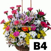 B4, basket of mixed flowers, spring flowers, basket arrangement, basket, basket of flowers, flower delivery, flower delivery philippines
