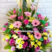 B5, basket of mixed flowers, spring flowers, basket arrangement, basket, basket of flowers, flower delivery, flower delivery philippines