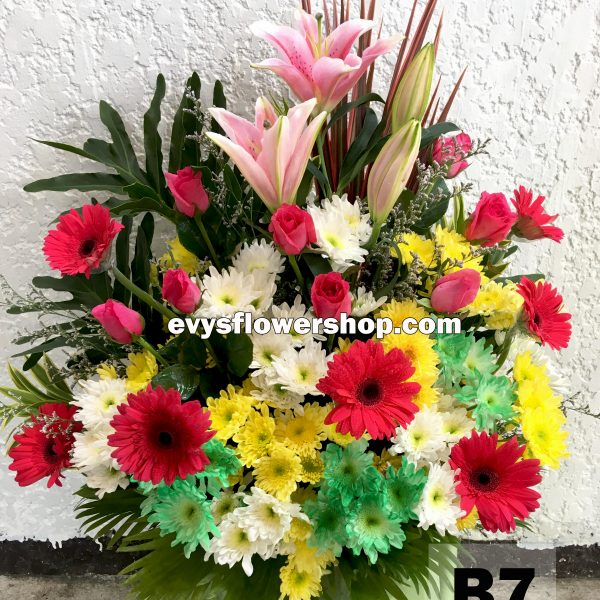 B7, basket of mixed flowers, spring flowers, basket arrangement, basket, basket of flowers, flower delivery, flower delivery philippines