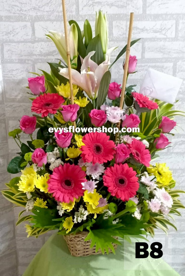 B8, basket of mixed flowers, spring flowers, basket arrangement, basket, basket of flowers, flower delivery, flower delivery philippines