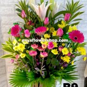 B9, basket of mixed flowers, spring flowers, basket arrangement, basket, basket of flowers, flower delivery, flower delivery philippines