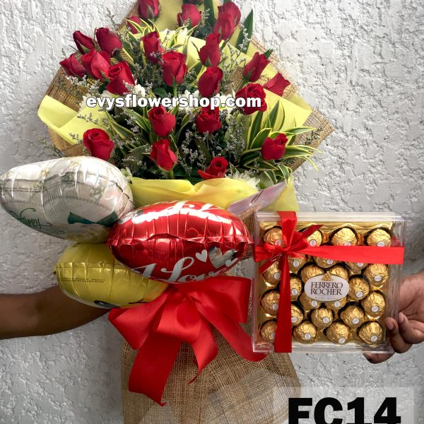 FC14, bouquet of roses, combo, package, bouquet, flower delivery, flower delivery philippines