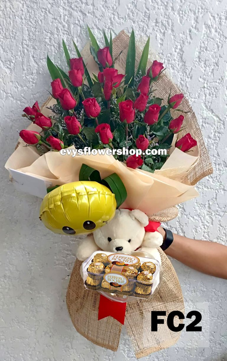 FC2, bouquet of roses, combo, package, bouquet, flower delivery, flower delivery philippines