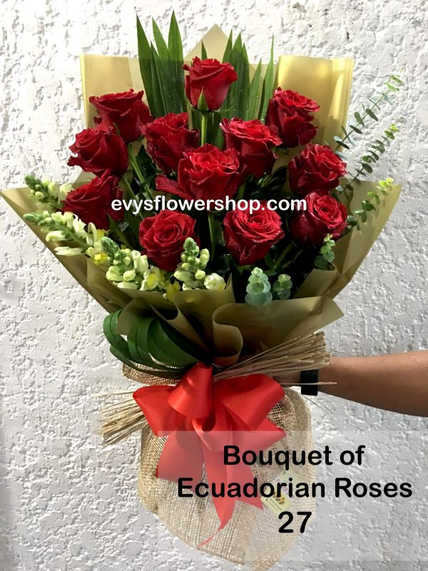 bouquet of ecuadorian roses 27, bouquet of ecuadorian roses, ecuadorian roses, bouquet, flower delivery, flower delivery philippines