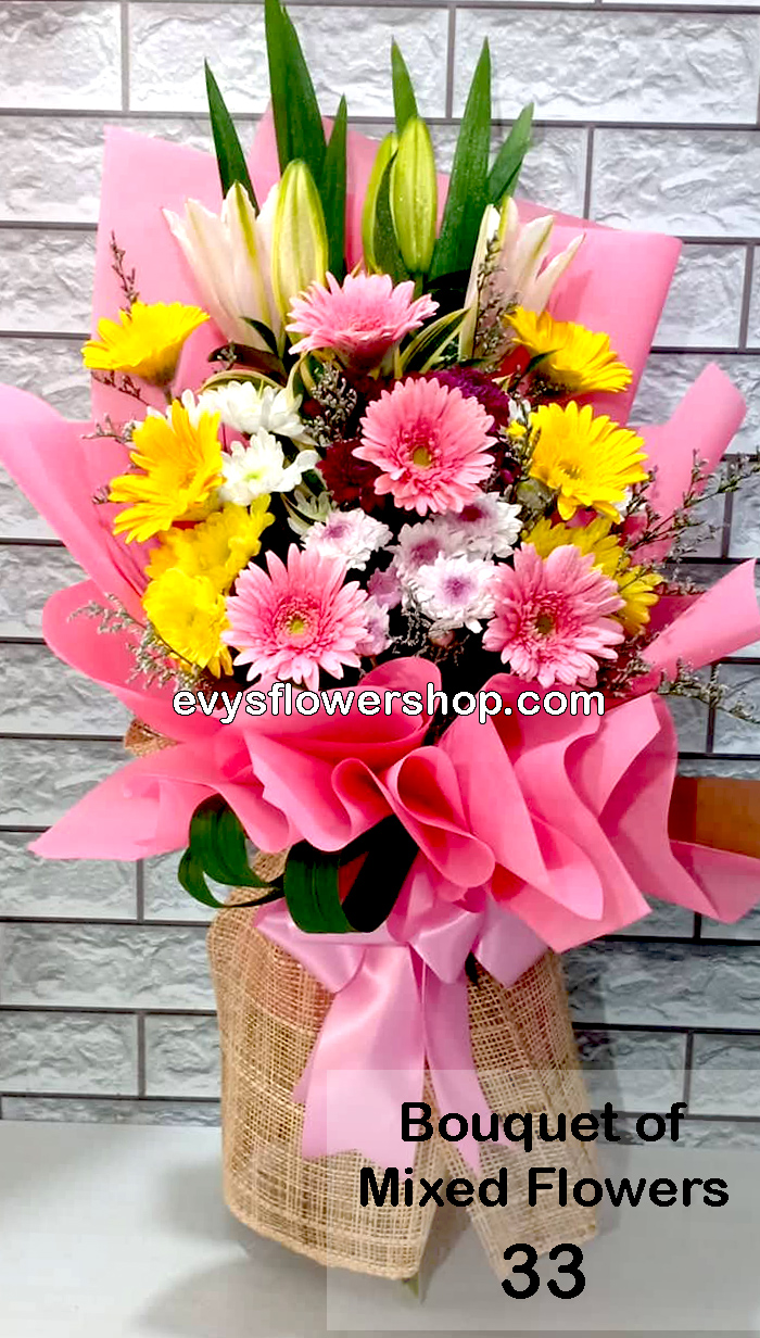 bouquet of mixed flowers 33, bouquet of mixed flowers, spring flowers, bouquet, flower delivery, flower delivery philippines