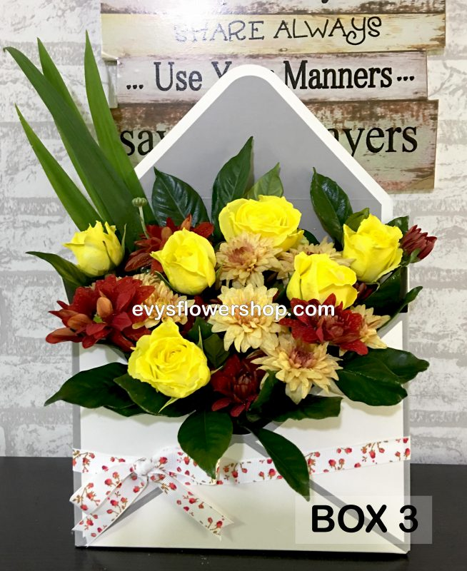 box 3, box of flowers, gift box, flower delivery, flower delivery philippines