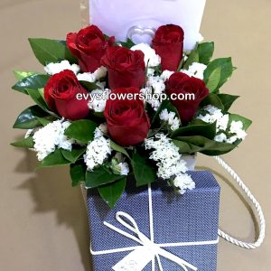 box 6, box of flowers, gift box, flower delivery, flower delivery philippines