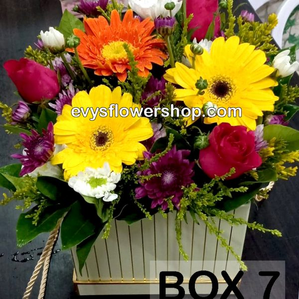 box 7, box of flowers, gift box, flower delivery, flower delivery philippines