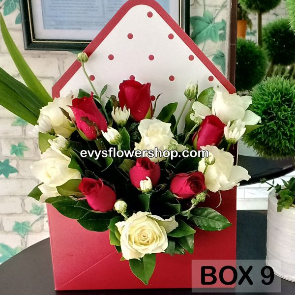 box 9, box of flowers, gift box, flower delivery, flower delivery philippines