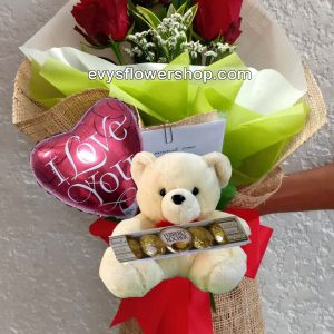 FC46, bouquet of ecuadorian roses, combo, package, bouquet, flower delivery, flower delivery philippines