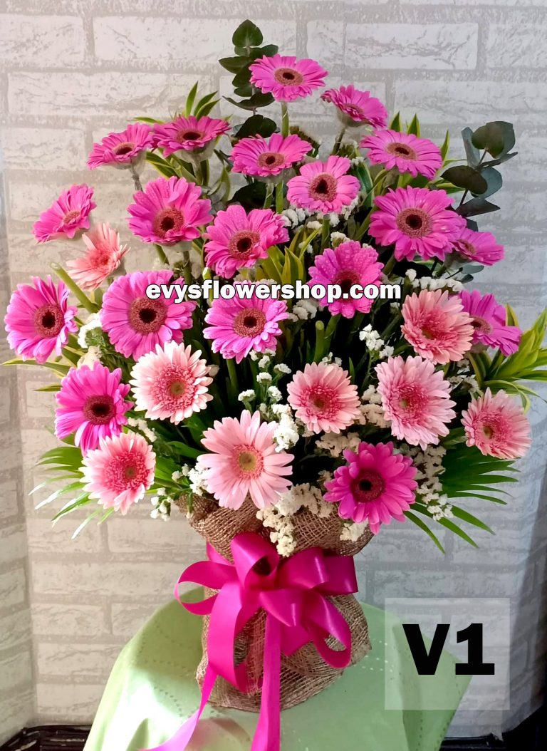 V1, vase of gerbera, vase arrangement, vase, vase of flowers, flower delivery, flower delivery philippines