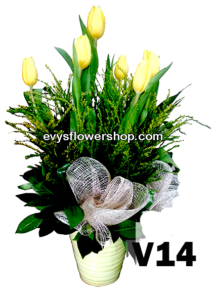 V14, vase of tulips, tulips, vase arrangement, vase, vase of flowers, flower delivery, flower delivery philippines