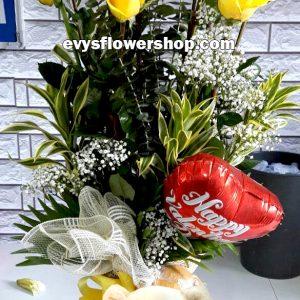 V15, vase of imported roses, imported roses, vase arrangement, vase, vase of flowers, flower delivery, flower delivery philippines