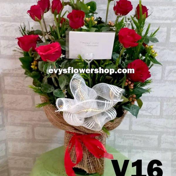 V16, vase of roses, roses, vase arrangement, vase, vase of flowers, flower delivery, flower delivery philippines