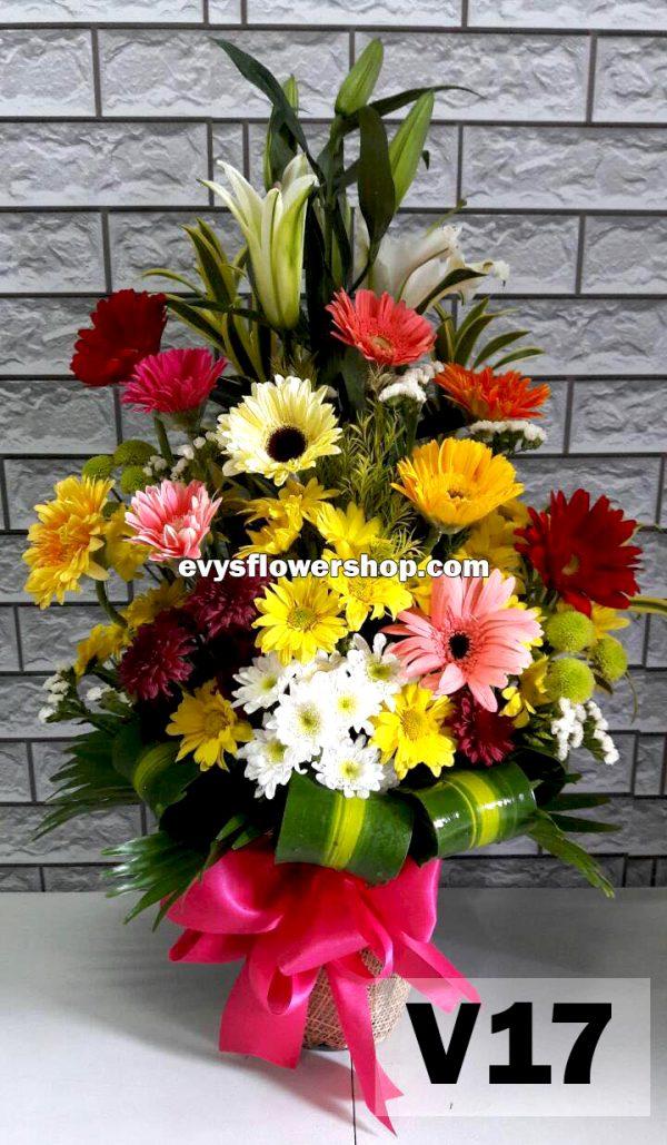 V17, vase of mixed flowers, spring flowers, vase arrangement, vase, vase of flowers, flower delivery, flower delivery philippines