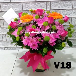 V18, vase of mixed flower, spring flowers, vase arrangement, vase, vase of flowers, flower delivery, flower delivery philippines