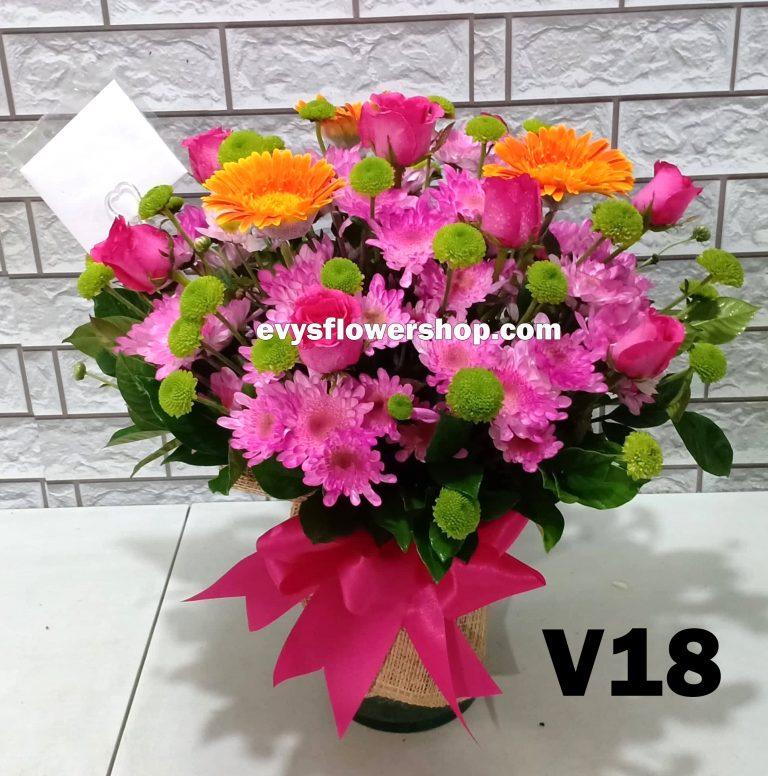 V18, vase of mixed flower, spring flowers, vase arrangement, vase, vase of flowers, flower delivery, flower delivery philippines