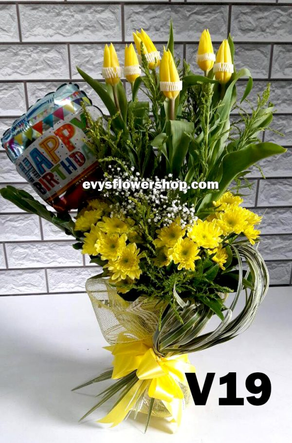 V19, vase of tulips, tulips, vase arrangement, vase, vase of flowers, flower delivery, flower delivery philippines