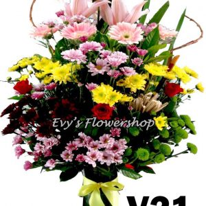 V21, vase of mixed flowers, spring flowers, vase arrangement, vase, vase of flowers, flower delivery, flower delivery philippines