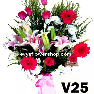 V25, vase of mixed flowers, spring flowers, vase arrangement, vase, vase of flowers, flower delivery, flower delivery philippines