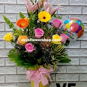 V5, vase of mixed flowers, spring flowers, vase arrangement, vase, vase of flowers, flower delivery, flower delivery philippines