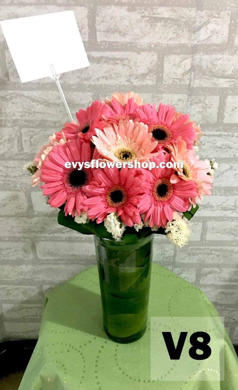 V8, vase of gerbera, gerbera, vase arrangement, vase, vase of flowers, flower delivery, flower delivery philippines