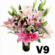 V9, vase of stargazer, stargazer, vase arrangement, vase, vase of flowers, flower delivery, flower delivery philippines
