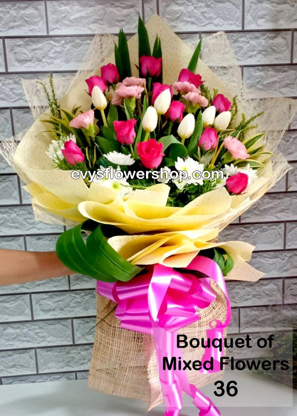 bouquet of mixed flowers 36, bouquet of mixed flowers, spring flowers, bouquet, flower delivery, flower delivery philippines
