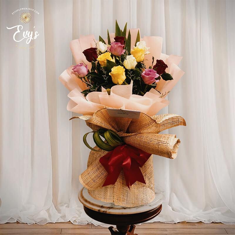 vintage & modern bangkok roses bouquet