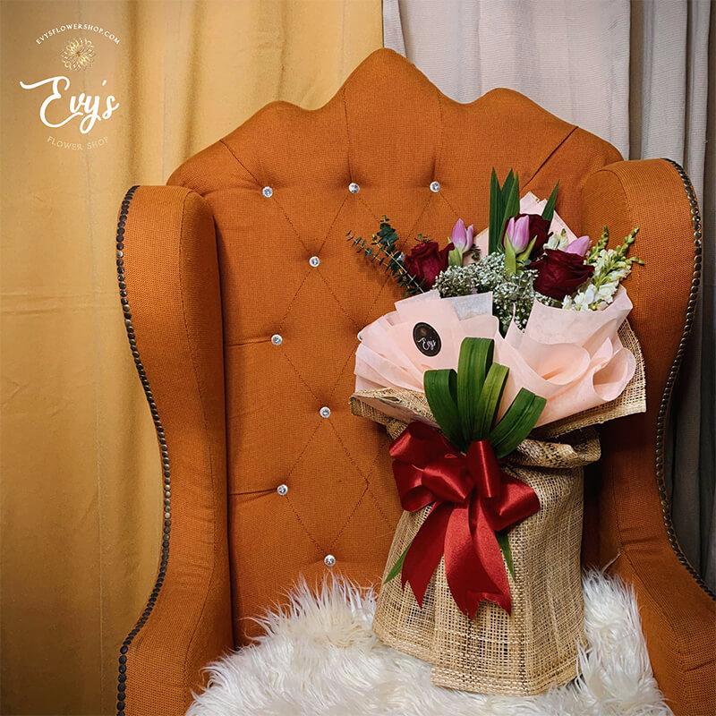 vintage & modern ecuadorian tulips bouquet